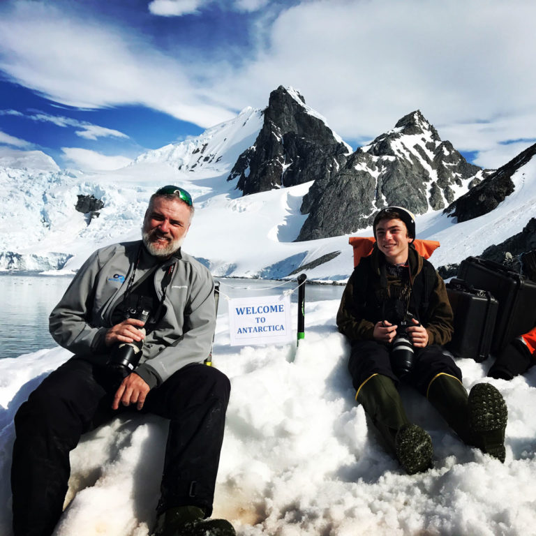Gary Justis and son in Antarctica